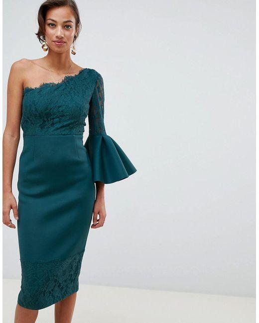 ASOS - Blue One Shoulder Lace Mix Midi Pencil Dress - Lyst