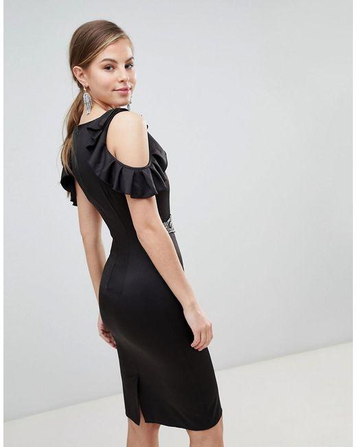 Cold Shoulder Pencil Dress With Embellished Waist Detail - Black Little Mistress Sale Find Great Finishline Cheap Online Limited jcgJeUFK