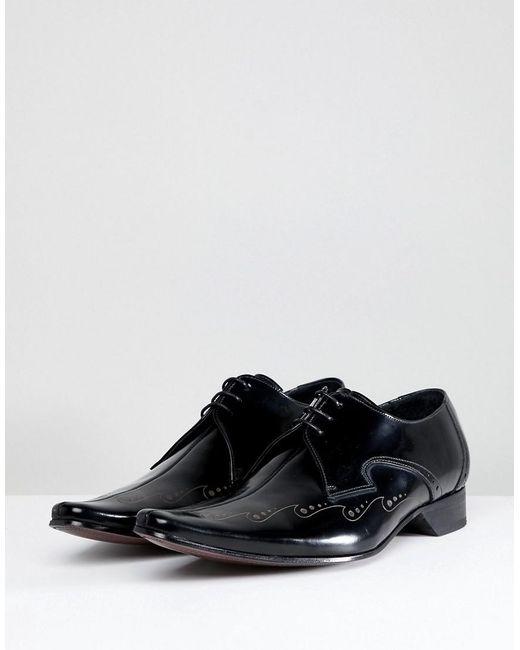 Jeffery Ouest Laser Couture Centre Pino Chaussures De Coupe - Noir hR59z4RT