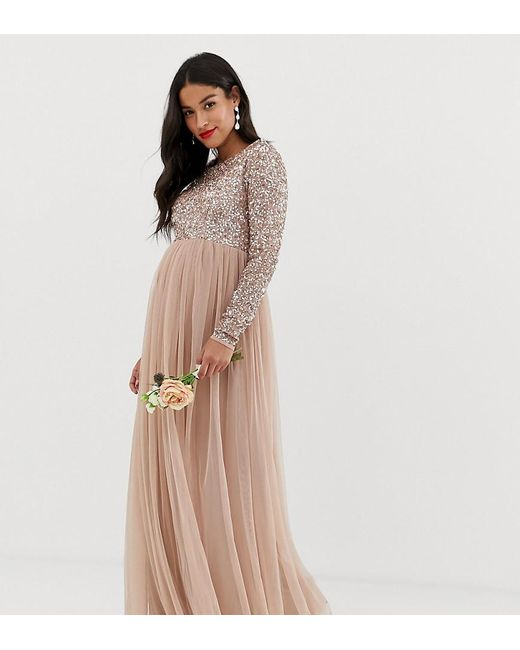 a64b41ed81 Maya Maternity - Brown Bridesmaid Long Sleeved Maxi Dress With Delicate  Sequin And Tulle Skirt ...
