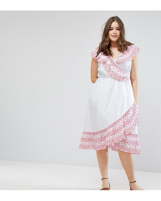 ASOS | White Broiderie Skater Dress With Cold Shoulder | Lyst