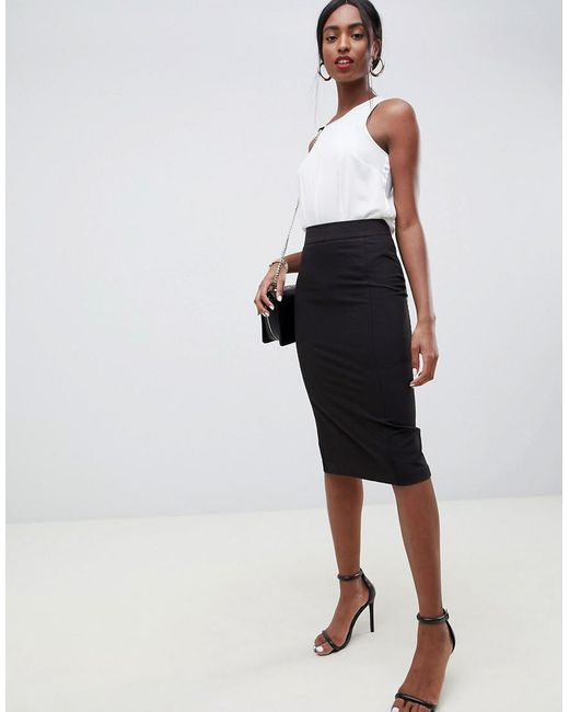 030994e7b ASOS Mix & Match High Waisted Pencil Skirt With Side Split in Black ...