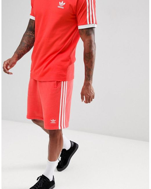 Adidas Originals - 3-stripe Jersey Shorts In Red Dh5800 for Men - Lyst