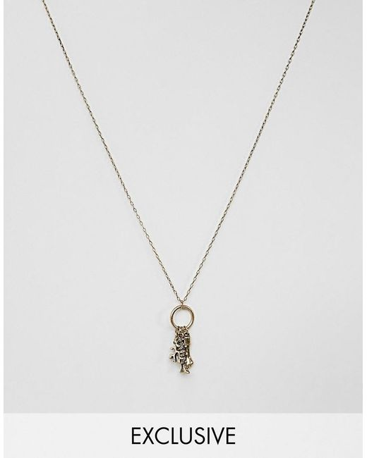 Reclaimed (vintage) - Metallic Inspired Necklace With Charm In Gold Exclusive At Asos for Men - Lyst