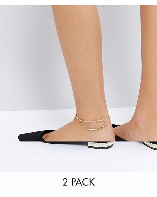 ASOS | Metallic Pack Of 2 Bar And Ball Chain Anklets | Lyst