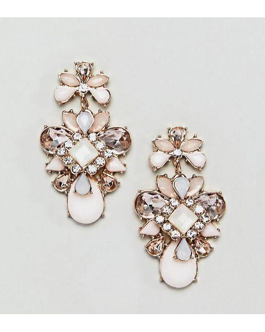 True Decadence - Metallic Pink Cluster Jewelled Earrings - Lyst