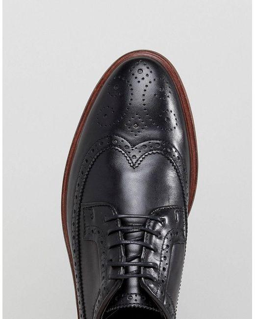 Asos Chaussures Richelieu En Cuir Noir Avec Semelle Naturel - Noir Kems5x