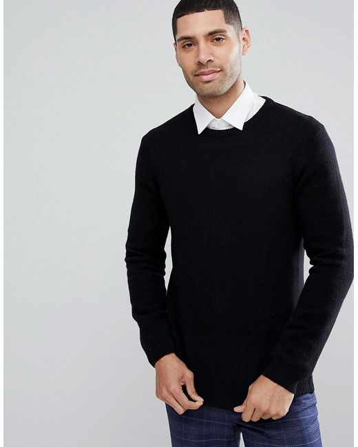 ASOS - Asos Lambswool Jumper In Black for Men - Lyst
