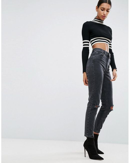 389df6da15 ASOS - Farleigh High Waist Slim Mom Jeans In Washed Black With Busted Knees  - Lyst ...