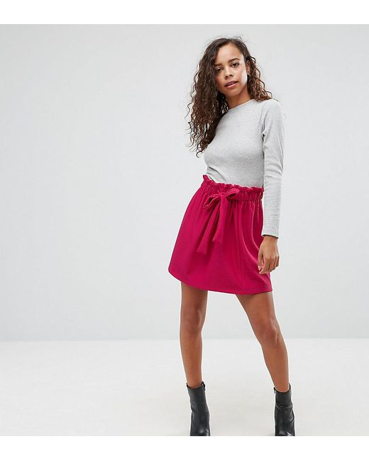 ASOS - Purple Textured Mini Skater Skirt With Paperbag Waist And Belt - Lyst