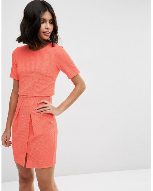 ASOS | Pink Textured Double Layer Mini Wiggle Dress | Lyst