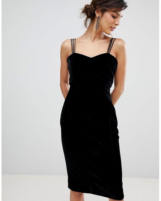 Lyst Coast Scarlett Velvet Slip Dress In Black
