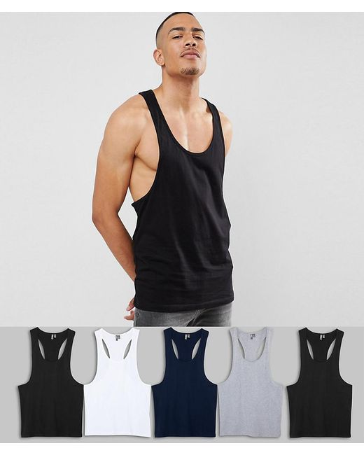 ASOS - Black Tall Vest With Extreme Racer Back 5 Pack Save for Men - Lyst