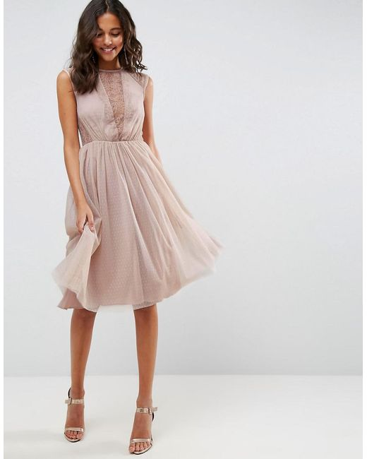 ASOS | Pink Lace Tulle Cap Sleeve Midi Dress | Lyst