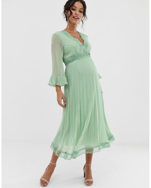 e571d40cbae ASOS - Green Pleated Midi Dress With Lace Inserts - Lyst ...