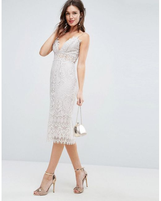Lyst - Asos Lace Cami Midi Pencil Dress in White