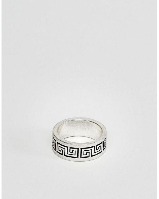 ASOS - Metallic Column Design Ring In Silver for Men - Lyst