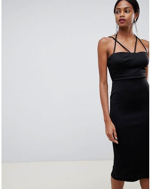 772450fd743b ASOS - Black 90s Strappy Midi Bodycon Dress - Lyst ...
