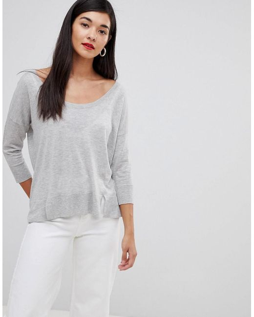 French Connection - Gray Spring Lightweight Silk Blend Jumper - Lyst