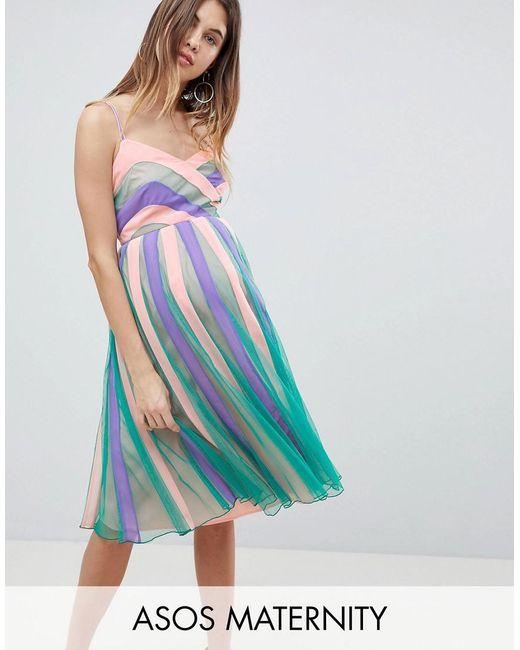 ASOS - Blue Colourblock Mesh Fit And Flare Midi Dress - Lyst