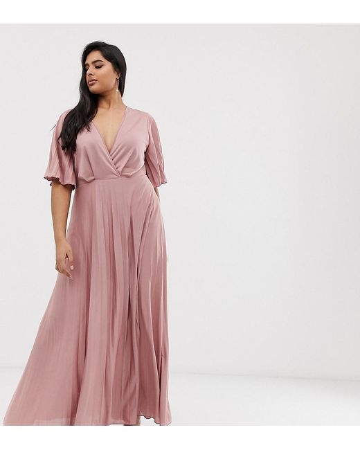 f81935a5956d ASOS - Pink Asos Design Curve Kimono Pleated Maxi Skater Dress - Lyst ...