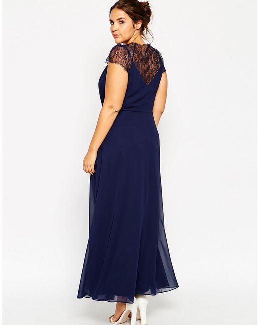 Asos Curve Kate Lace Maxi Dress In Blue