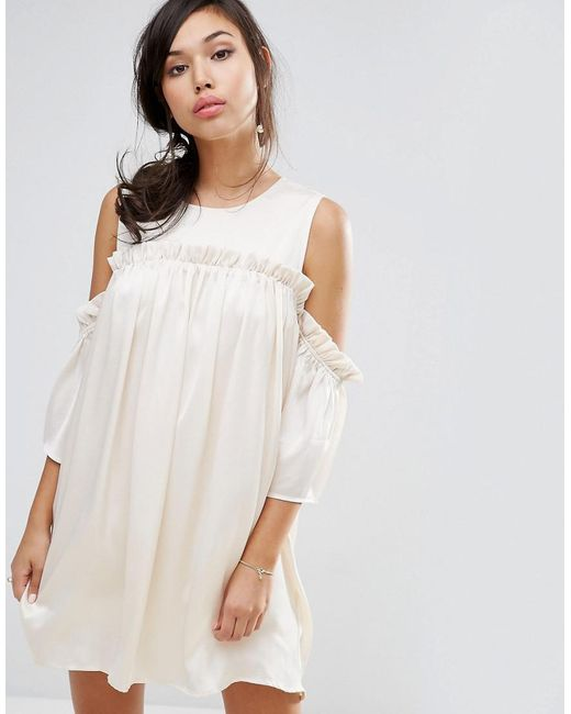 Fashion Union - Natural Cold Shoulder Dress With Frill - Lyst