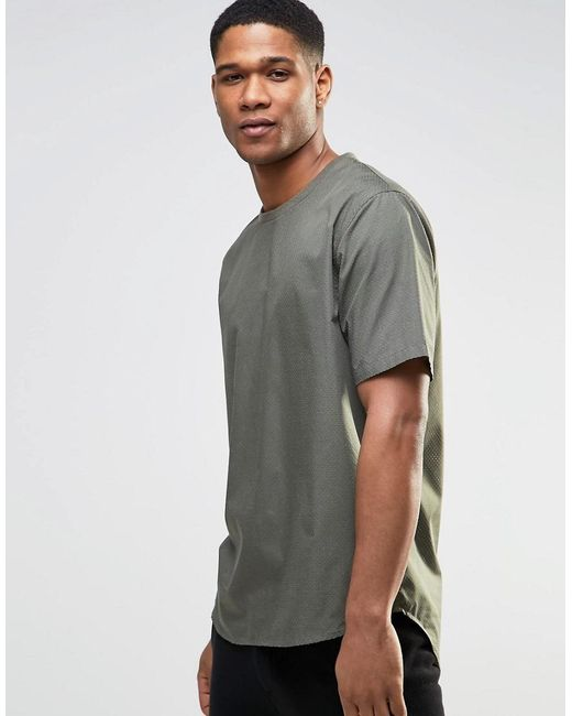 ASOS | Green Perforated Woven Tee In Khaki for Men | Lyst
