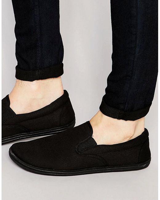 ASOS   Slip On Plimsolls In Black for Men   Lyst