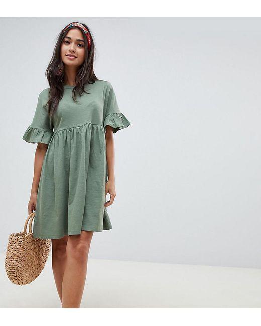 f794b92bd69 ASOS - Green Asos Design Petite Cotton Slubby Frill Sleeve Smock Dress -  Lyst ...