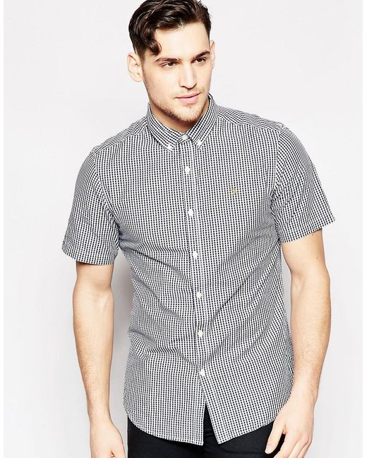 Farah shirt with gingham check slim fit short sleeves for Slim fit gingham check shirt