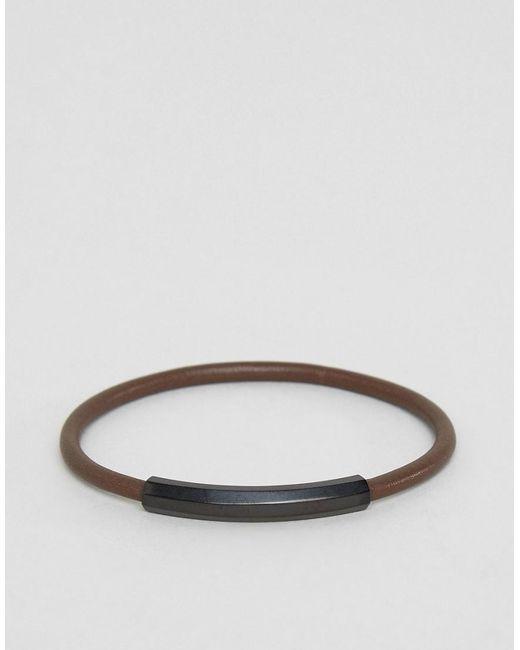Emporio Armani   Slim Leather Bracelet In Black for Men   Lyst