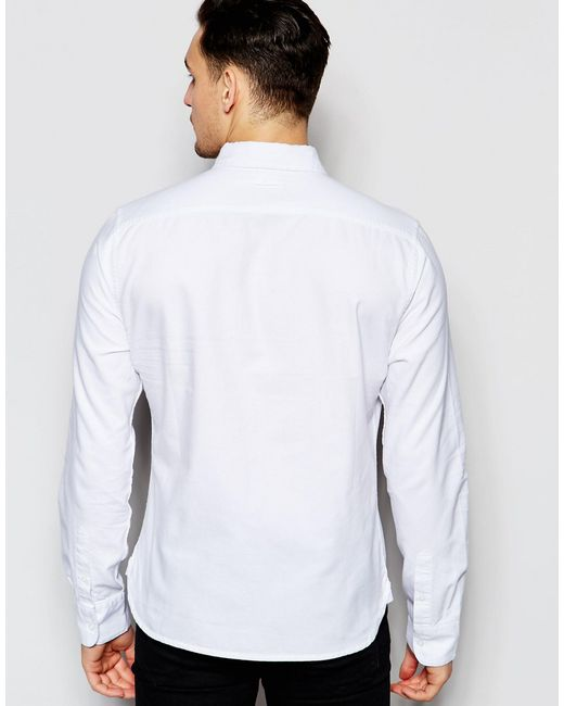 Bellfield oxford shirt with button down collar in white for Mens white oxford button down shirt