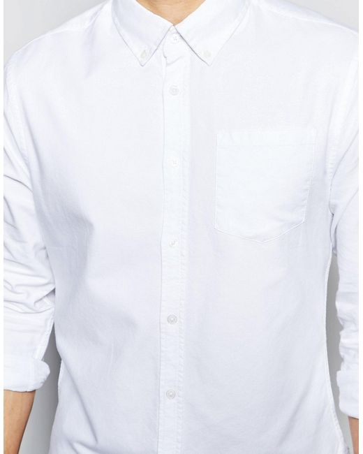 Bellfield Oxford Shirt With Button Down Collar In White