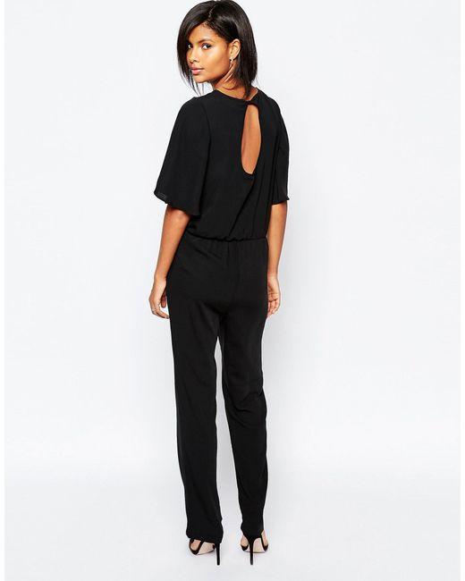 vero moda kimono sleeve jumpsuit in black lyst. Black Bedroom Furniture Sets. Home Design Ideas
