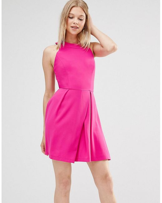 Adelyn Rae Cage Back Skater Dress Pink In Pink Lyst