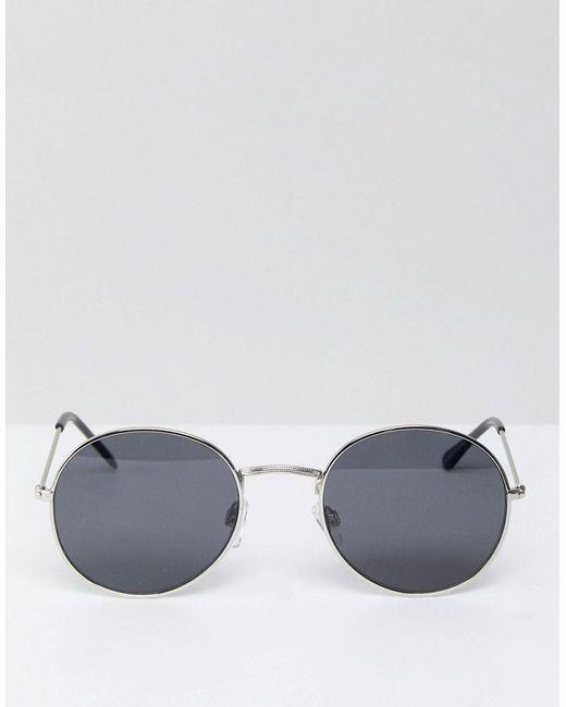 5c7d042d3f Bershka - Round Sunglasses In Silver Frames With Black Lenses for Men -  Lyst ...