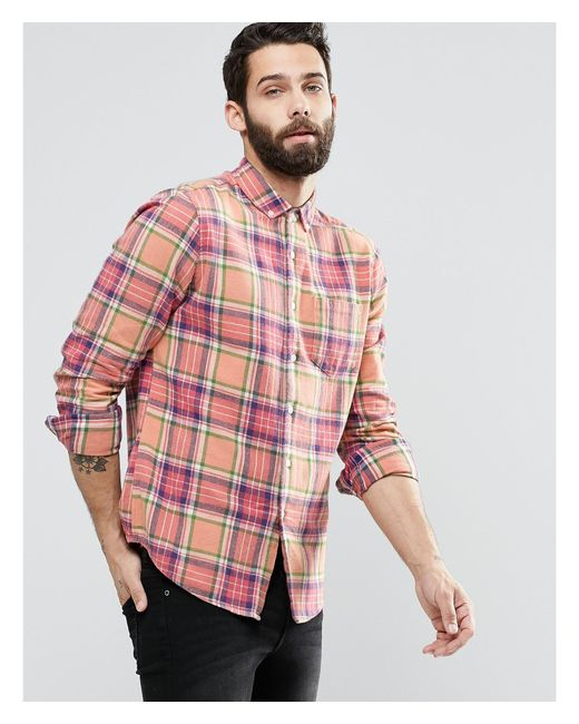 Asos Check Shirt With Acid Wash In Long Sleeve In Regular