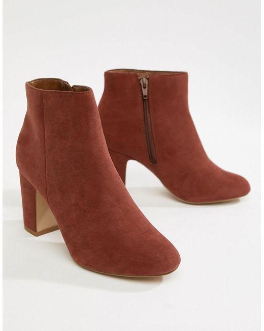 New Look - Orange Wide Fit Suedette Block Heel Boot - Lyst