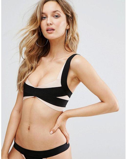 PRETTYLITTLETHING - Black Bandage Bikini Top - Lyst