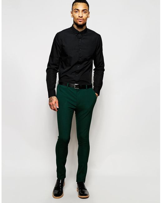 Asos Super Skinny Suit Pants In Green in Green for Men   Lyst