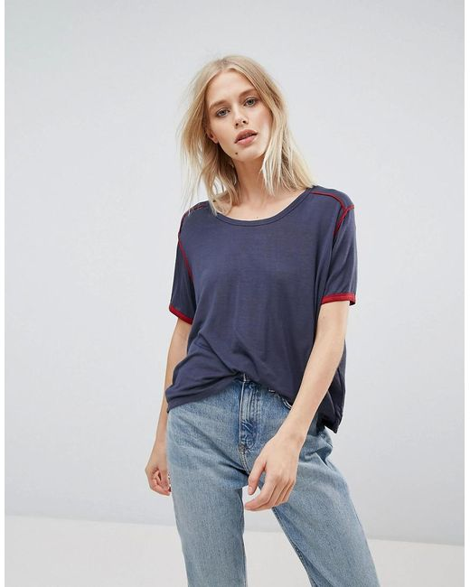 Weekday - Blue Retro T-shirt With Piping - Lyst