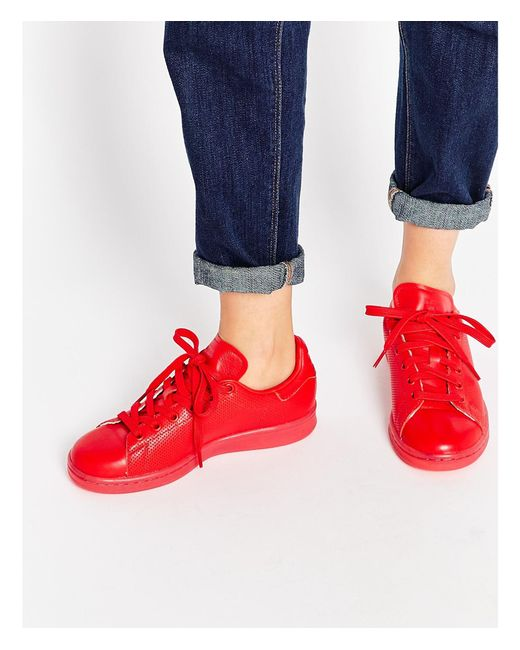 Adidas Originals | Red Leather Superstar Sneakers for Men | Lyst