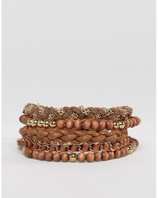 ASOS | Multi Beaded Bracelet Pack In Brown And Gold for Men | Lyst