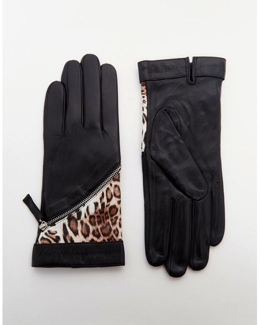 Pia Rossini Leather Gloves With Leopard Insert In Black Lyst