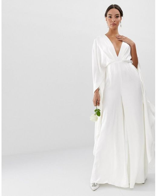 f54319efb3d ASOS - White Cape Sleeve Wedding Jumpsuit In Satin - Lyst ...