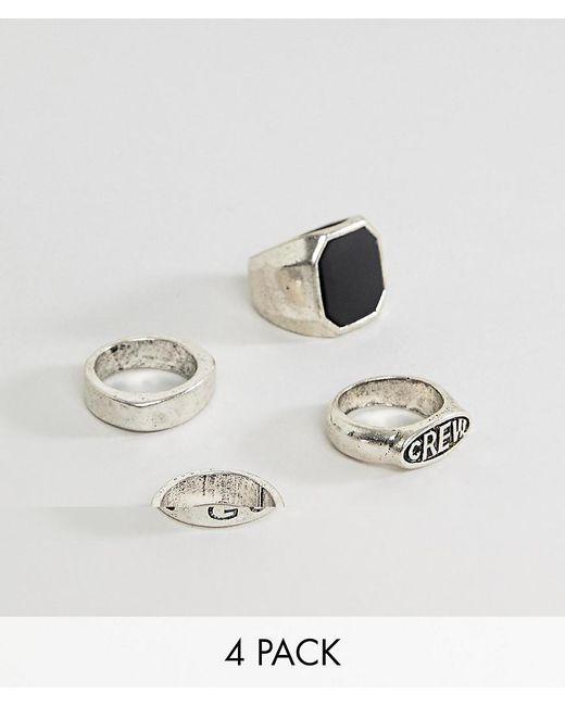 Bershka - Metallic 4 Pack Of Signet Rings In Silver for Men - Lyst