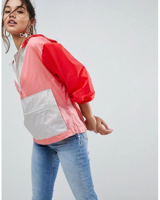 ASOS DESIGN - Red Over The Head Rainmac In Colourblock - Lyst