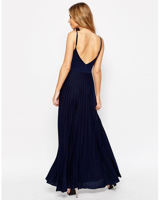 asos cami maxi dress with pleated skirt in blue lyst