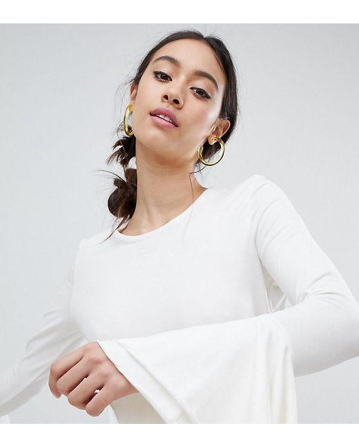 Monki - White Flute Sleeve Detail Knitted Jumper - Lyst